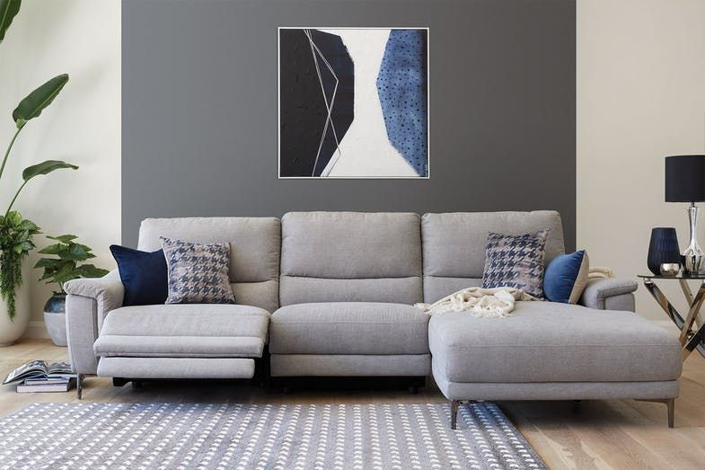 Mason 3 Seater Electric Recliner Fabric Sofa With Chaise In 2020 Recliner Fabric Sofa Fabric Sofa Living Room Furniture Recliner