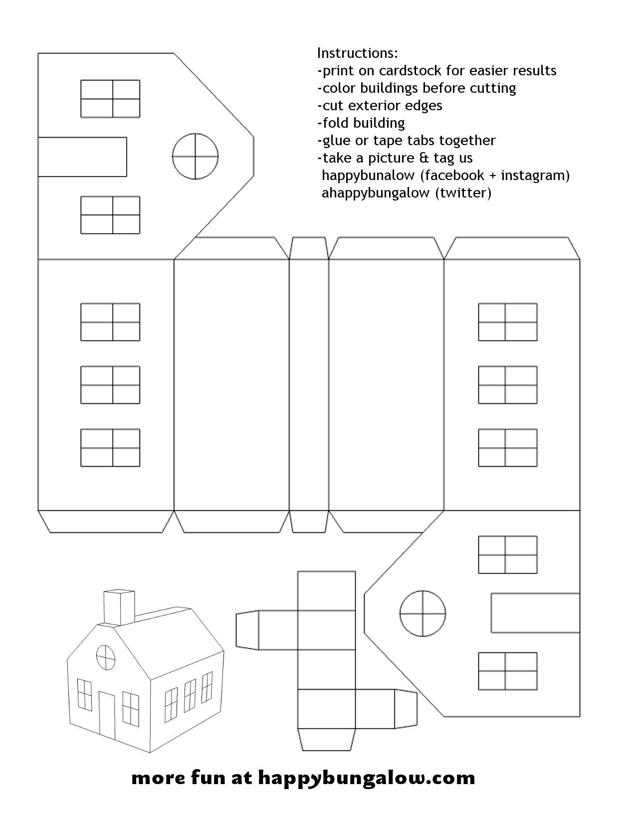 Print On 8 5x11 Paper Cardstock Works Best More At Https Happybungalow Com Papervillage Php Paper House Template Diy Christmas Village House Template