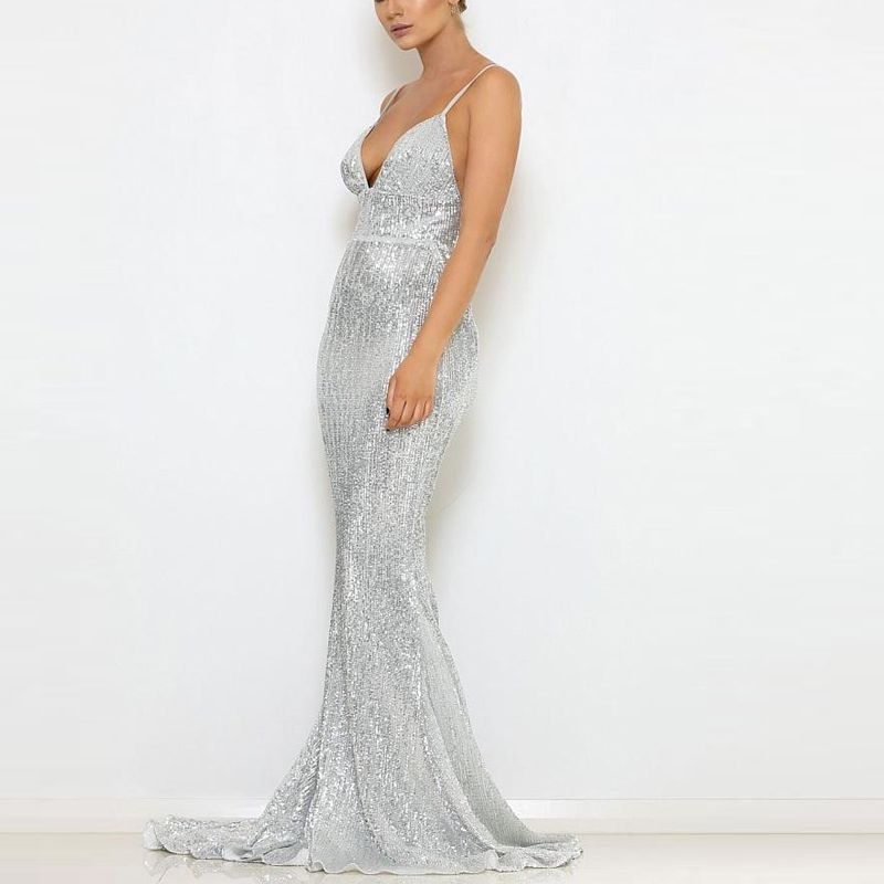 2018 Stretch Sequin Party Dress V Neck Padded Full Lining Floor Length Maxi  Dress Silver Green Champagne Gold Navy Blue Black  dress  sexy  collection   girl ... f6975b53a1bc
