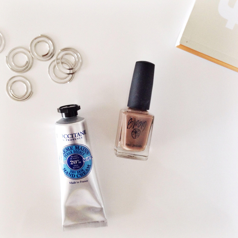 l'occitane handcream, kikki k paperclips, bloom nail polish and frankie