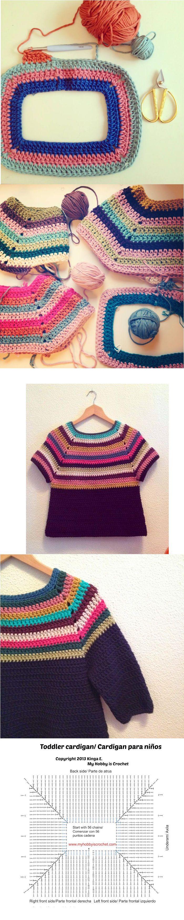 Twin V-Stitch Cardigan - Toddler Size | Raglan, Pulli und Häkeln