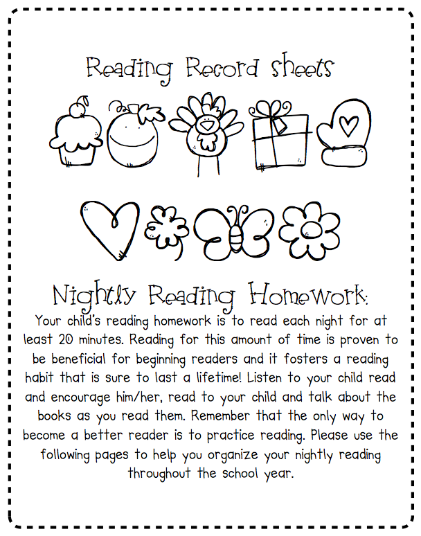 homework sheet kindergarten