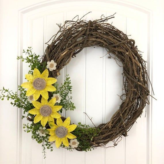 Photo of Grapevine sunflower wreath, spring sunflower wreath, summer door wreath, fall door wreath in autumn, The