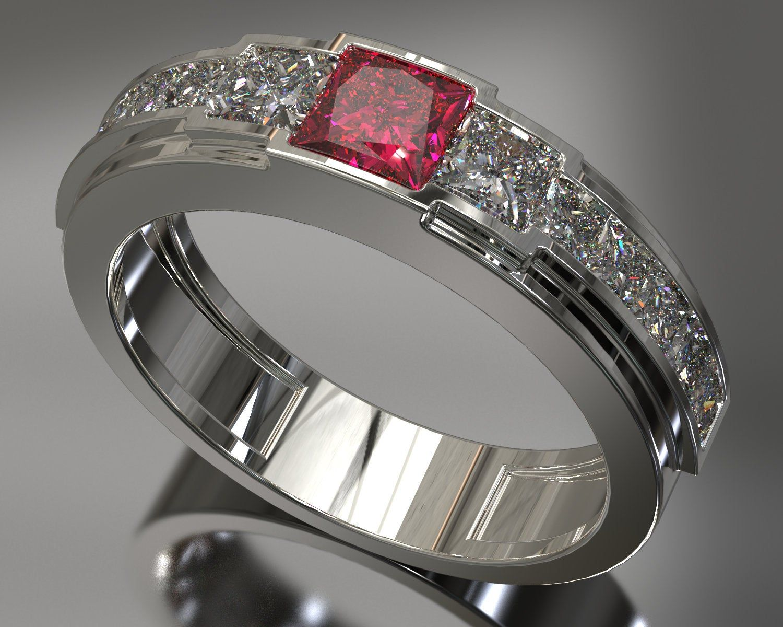 Unique Mens Wedding Ring, Mens Wedding Band, Man Ruby Ring