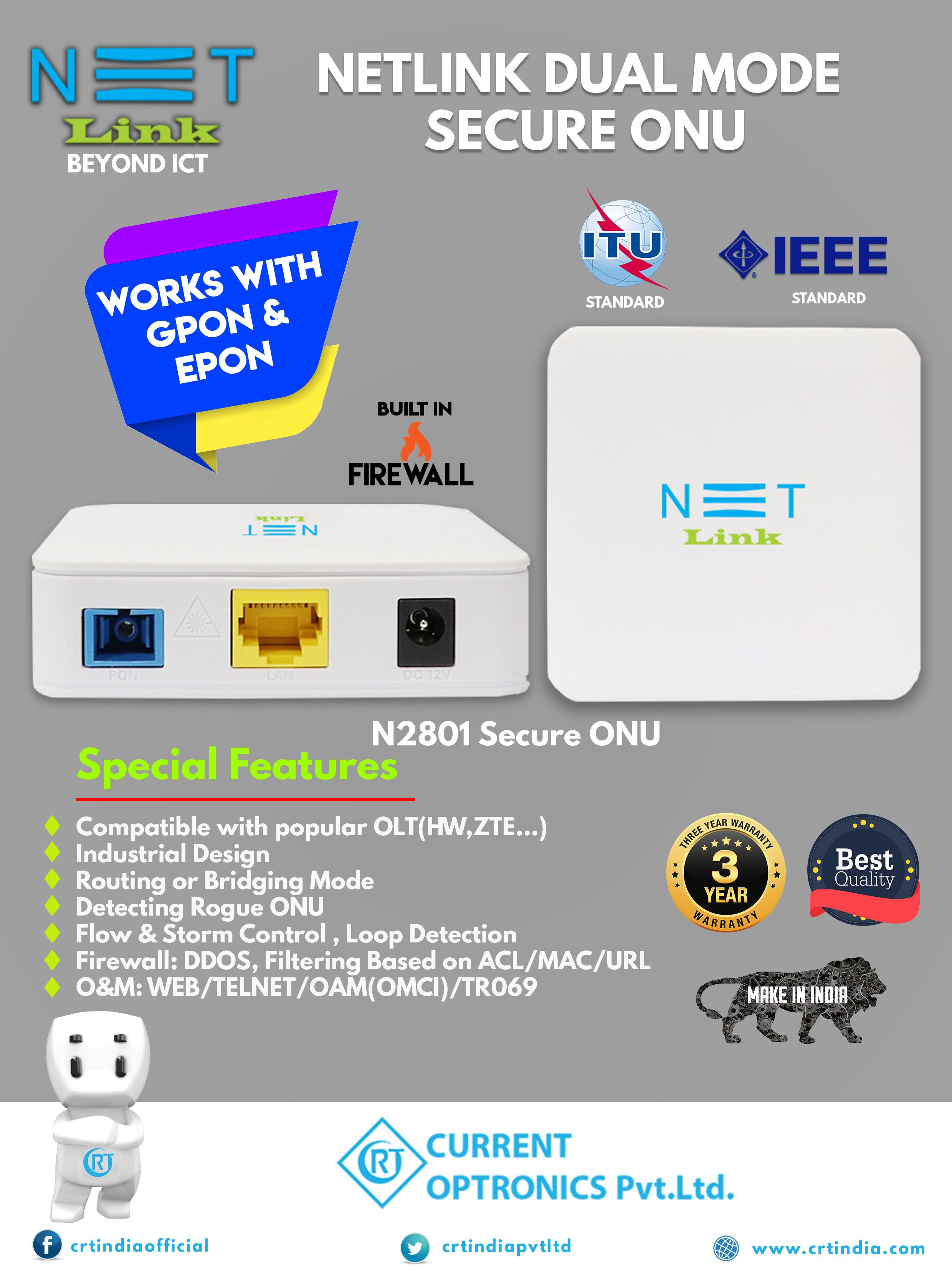 Dual Mode Onu Works On Both Gpon Epon With High Security Features