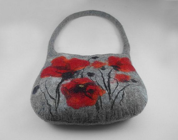 Felted Bag Poppy Poppies Handbag Purse wild Felt by filcant, $149.00 ...