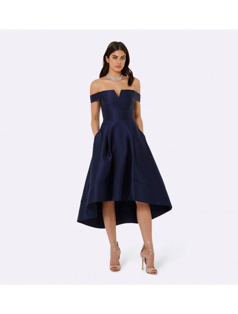 New Navy Blue Sparkly Bardot Dress Knee Length