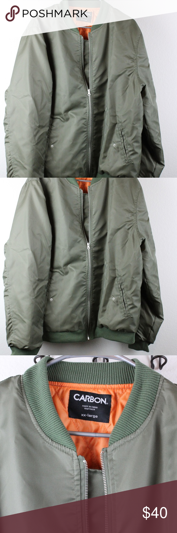 79fac802e Men's Army Green Bomber Jacket, Carbon, XXL BRAND NEW NEVER WORK WITOUT  TAGS CARBON SIZE XXL ARMY GREEN BOMBER JACKET # 0066 Carbon Jackets & Coats  Bomber & ...