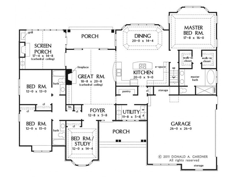 European Style House Plan 4 Beds 3 Baths 2453 Sq Ft Plan 929 3 House Plans One Story How To Plan Floor Plans