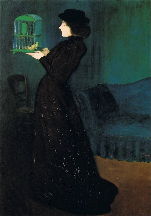 Woman with a Bird Cage - Jozsef Rippl-Ronai,   1892