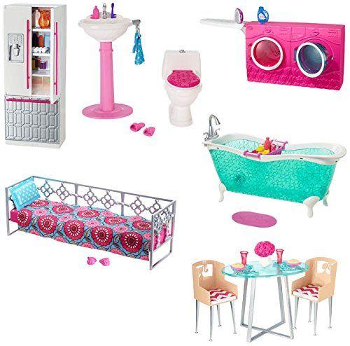 barbie cfb61 maison de poup e salle de bain barbie. Black Bedroom Furniture Sets. Home Design Ideas