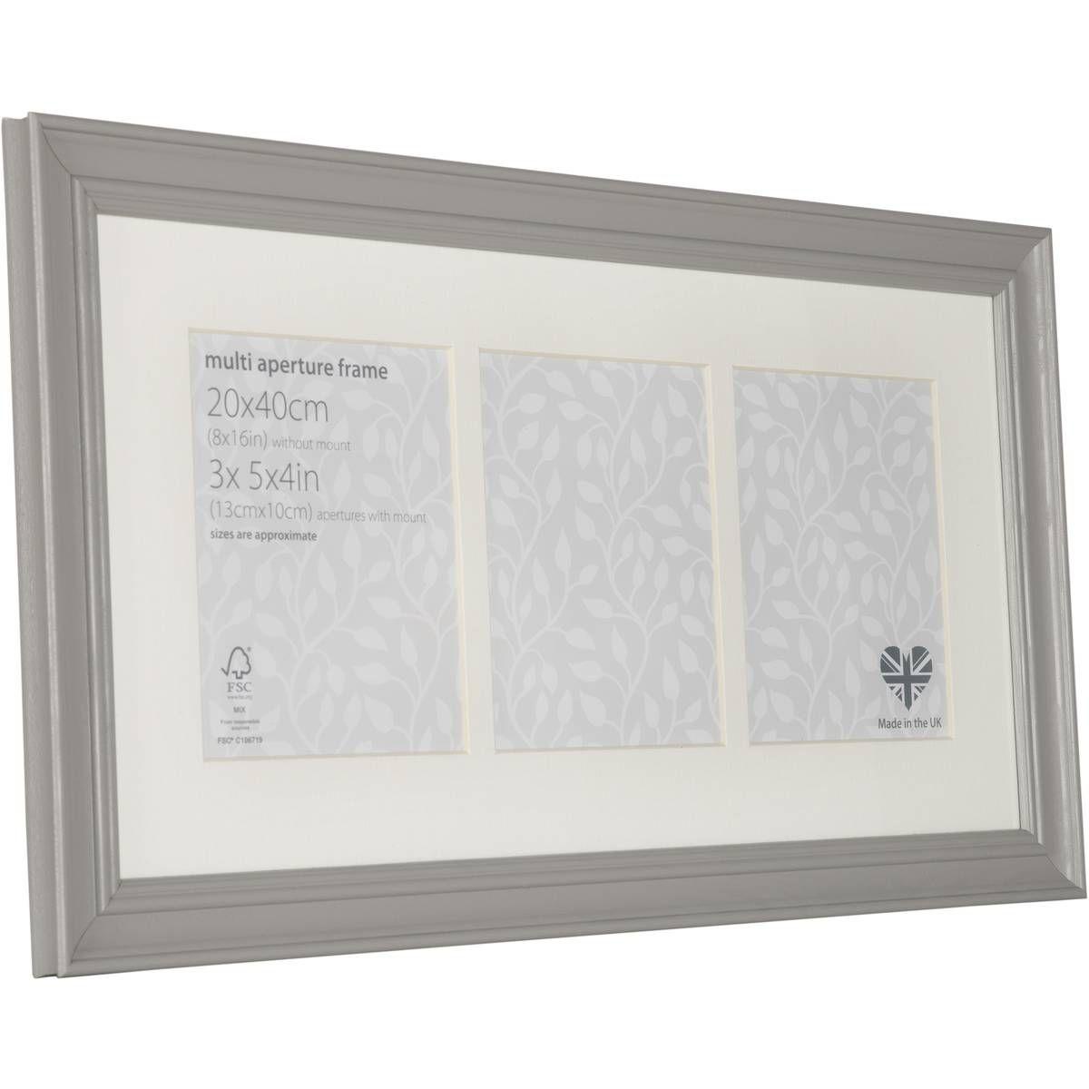 vintage grey frame multi aperture 20 x 40 centimetres - Multiple Photo Frame