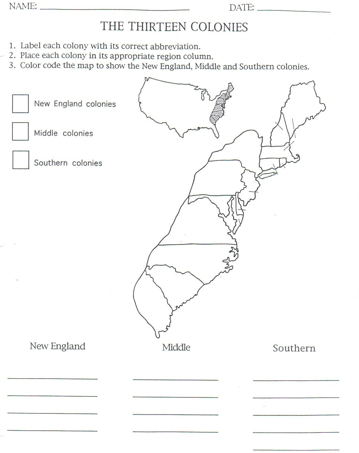 Worksheets 13 Colonies Worksheets 13 colonies map to color and label although notice that they have maine listed as