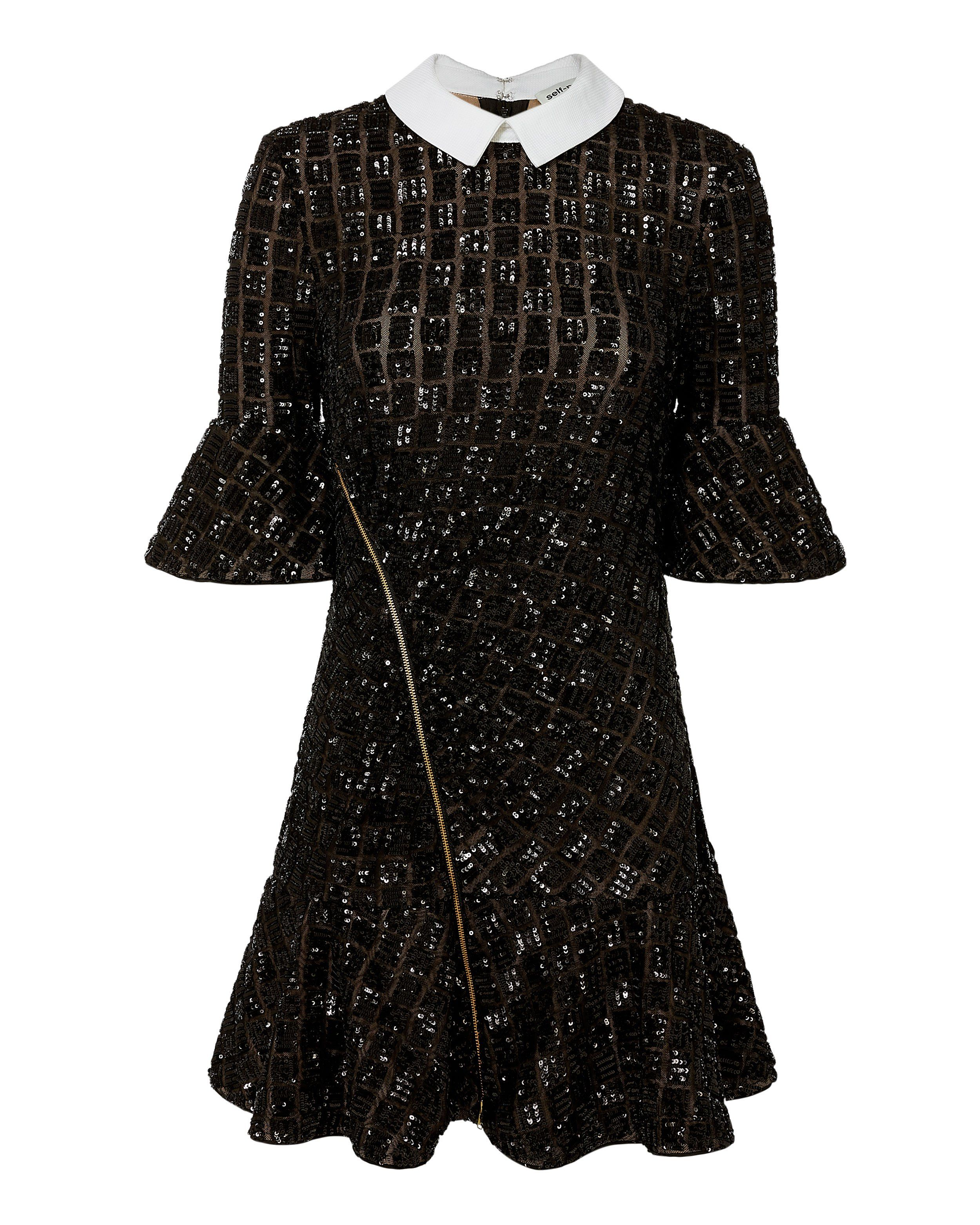d71b97e7 Prim and proper meets sophisticated with this Sequin Collared Mini Dress by Self  Portrait. Features asymmetrical front zip detail and concealed back zip ...