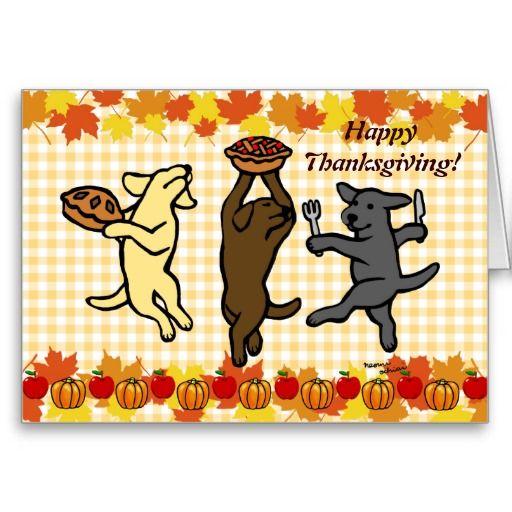 Dancing Labrador Trio Thanksgiving Greeting Cards #Labrador #LabradorRetriever #thanksgiving #dog #happylabradors.com