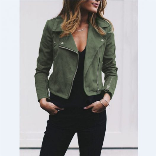 Photo of Tunic Army Casual Leather Zip Up Biker Jacket