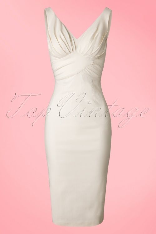 TopVintage Exclusive ~ 50s Maeve Pencil Dress in Ivory More 7eda082443