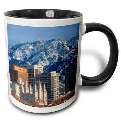 East Urban Home Wasatch Mountains, Salt Lake City Skyline, Utah USA Brian Jannsen Coffee Mug Color: Black #utahusa