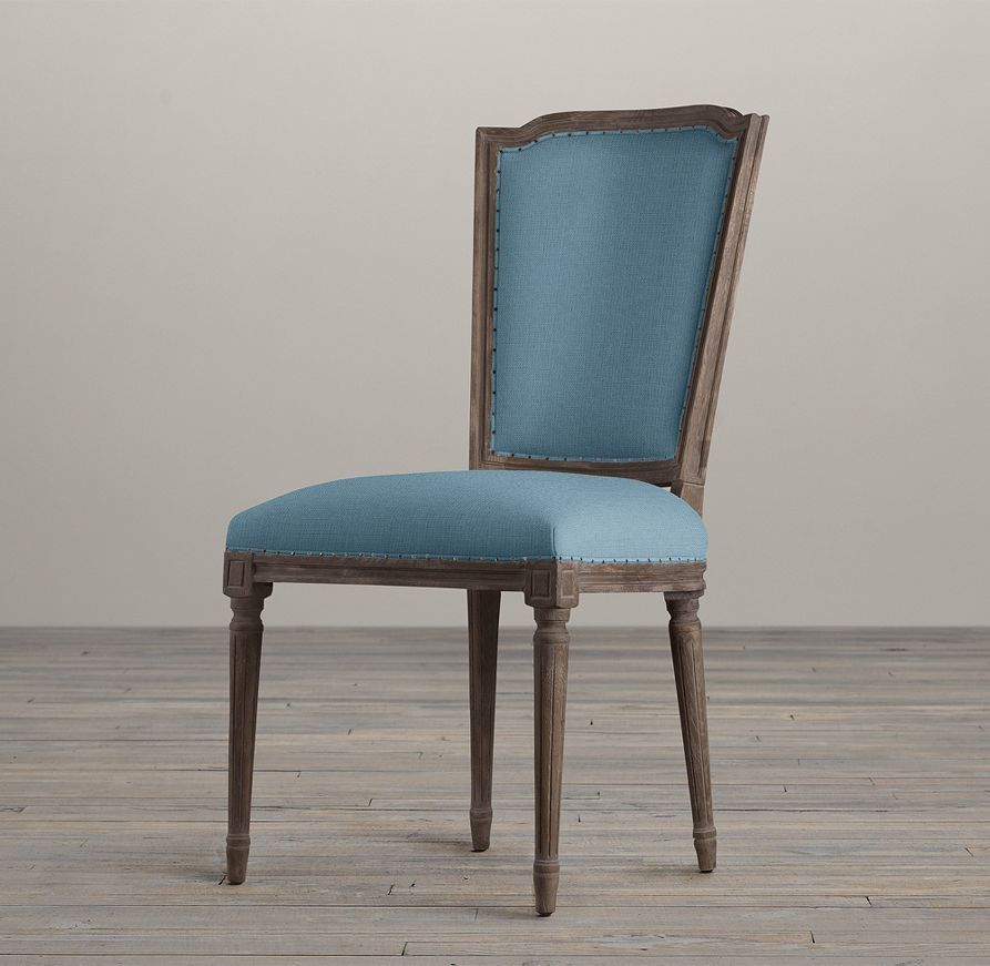 Vintage French Nailhead Upholstered Side Chair Restoration Hardware Belgian Linen Dining Room