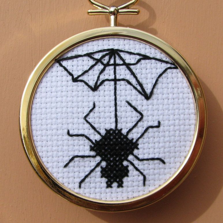 Handmade Cross Stitch Spider and Web by RikkasCreations on Etsy