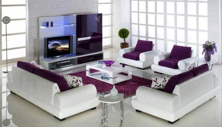 Most beautiful living room in purple and white colors - MyhomeMyzone