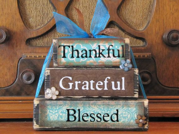 Blessed Thankful Grateful Block Stack Country Distressed Thanksgiving Fall