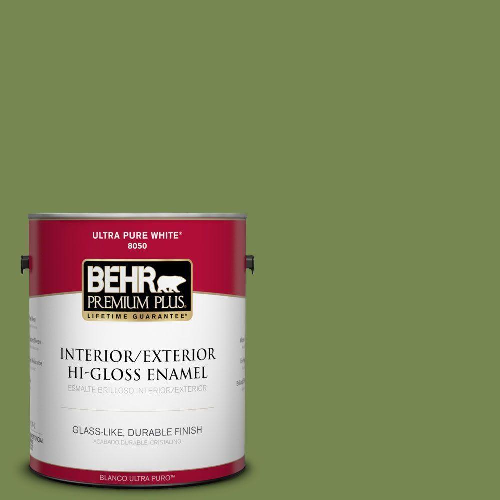 BEHR Premium Plus 1-gal. #hdc-SM14-2 Green Suede Hi-Gloss Enamel Interior/Exterior Paint