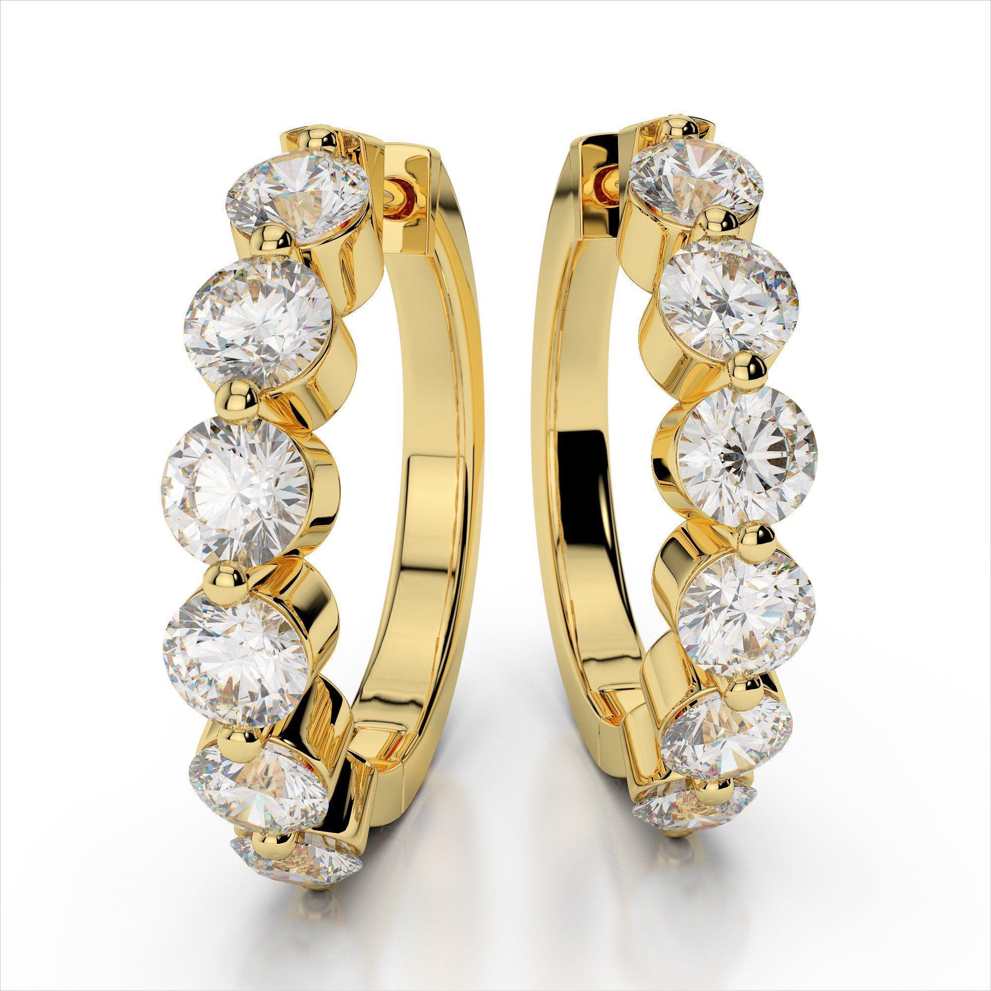 Modern Diamond Hoop Earrings Girls Hoop Earrings Real Gold