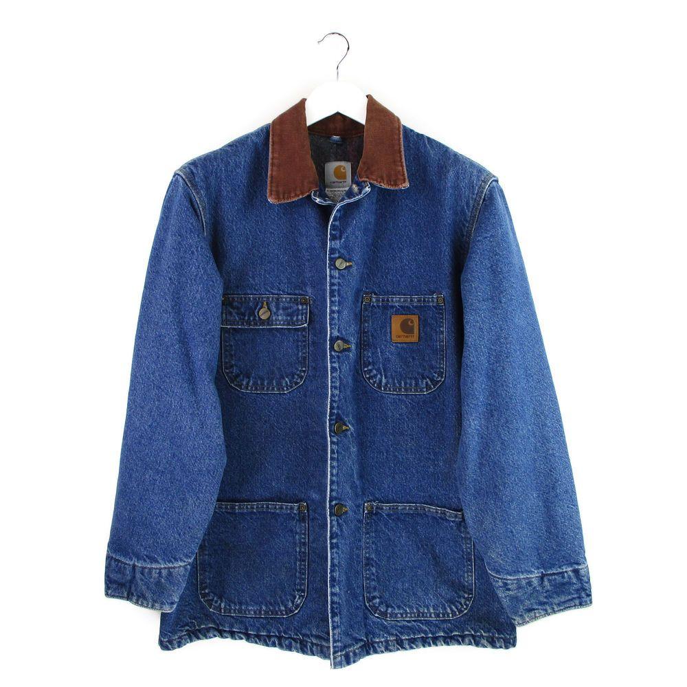 Carhartt Denim Jacket Barn Coat Medium Mens M Blue Jean Blanket Lined Chore Usa Carhartt Jeanjacket Carhartt Denim Jacket Denim Jacket Jackets [ 1000 x 1000 Pixel ]