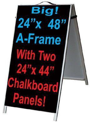 Aluminum A Frame 24x48 Double Sided Sidewalk Sign W2 Black