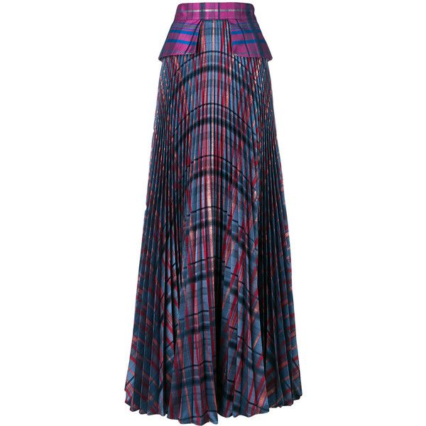 Daizy Shely pleated check maxi skirt (9 060 SEK) ❤ liked on Polyvore featuring skirts