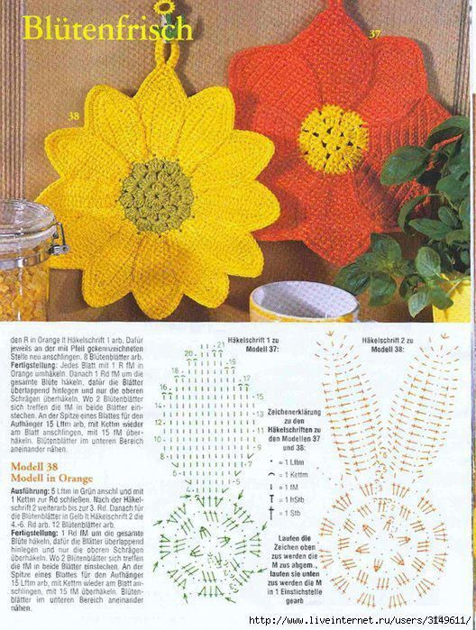 Kuchenne Lapki Christmas Crochet Patterns Crochet Hot Pads Crochet Sunflower
