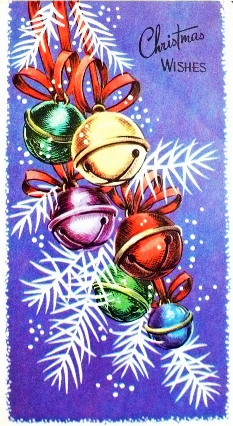 Christmas Wishes Vintage Greeting Card With Sleigh Bells Made In