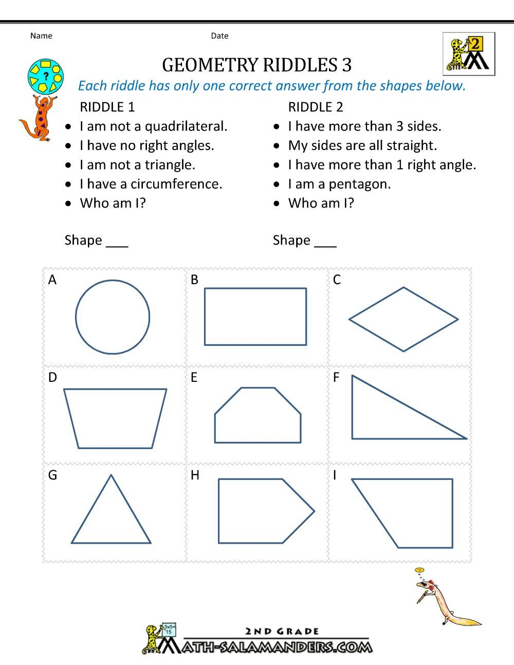 8 Free Printable Math Worksheets For Geometry Free