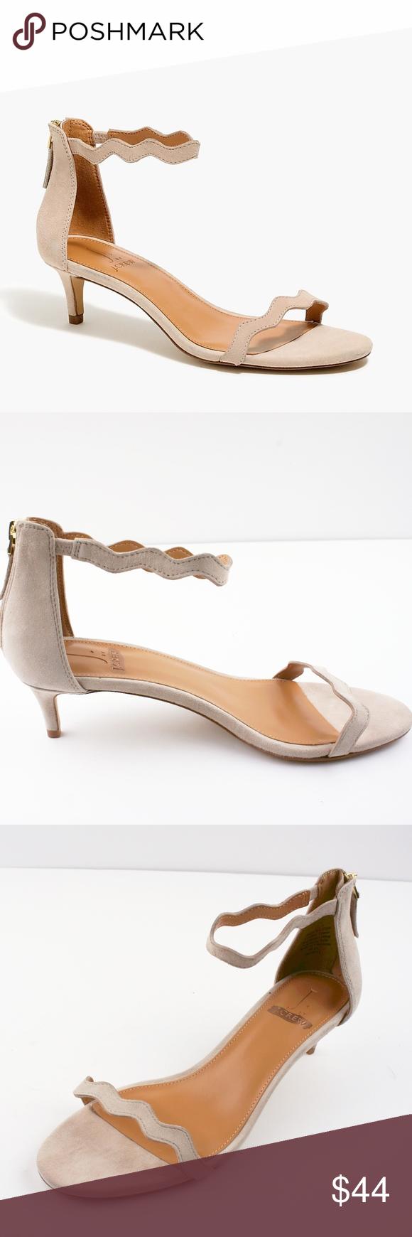 New Jcrew Strappy Scalloped Suede Kitten Heels Heels Kitten Heels Shoes Women Heels
