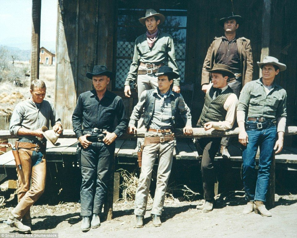 The way they were: The cast of the original The Magnificent Seven read like a who's who of Hollywood leading men and included Steve McQueen, far left, Yul Brynner, second from left, and Charles Bronson, far right
