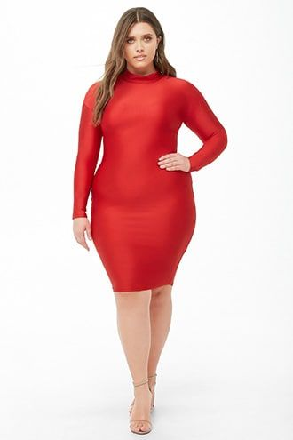 4de41b7fb5e Plus Size Sheeny Mock Neck Dress