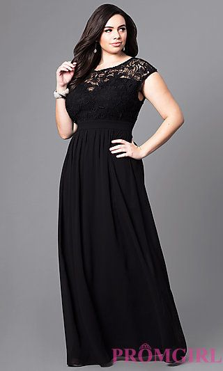 4bfb52ad4cf Plus-Size Long Formal Prom Dress with Lace Bodice at PromGirl.com