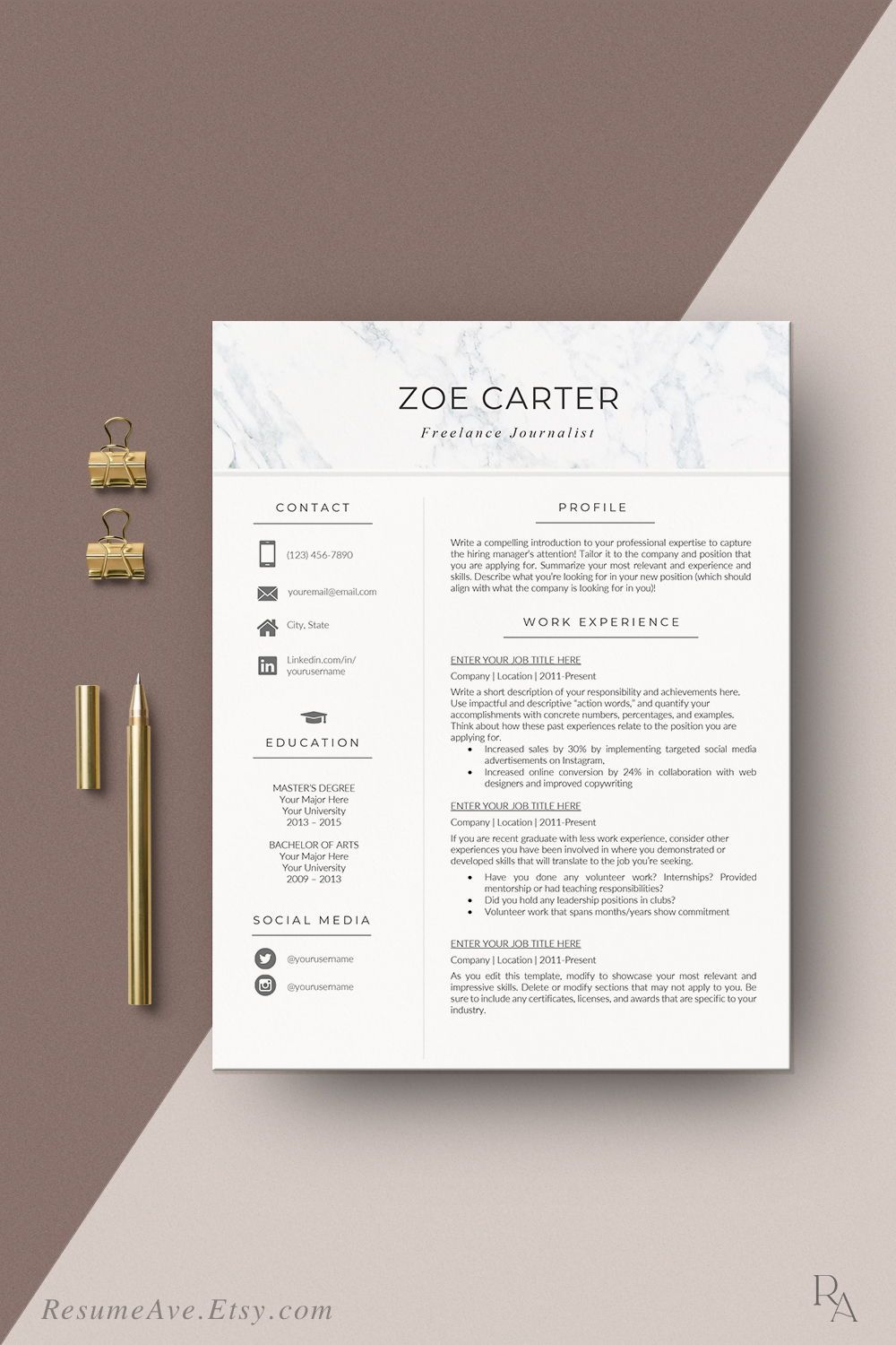 Nurse resume template with marble header modern and