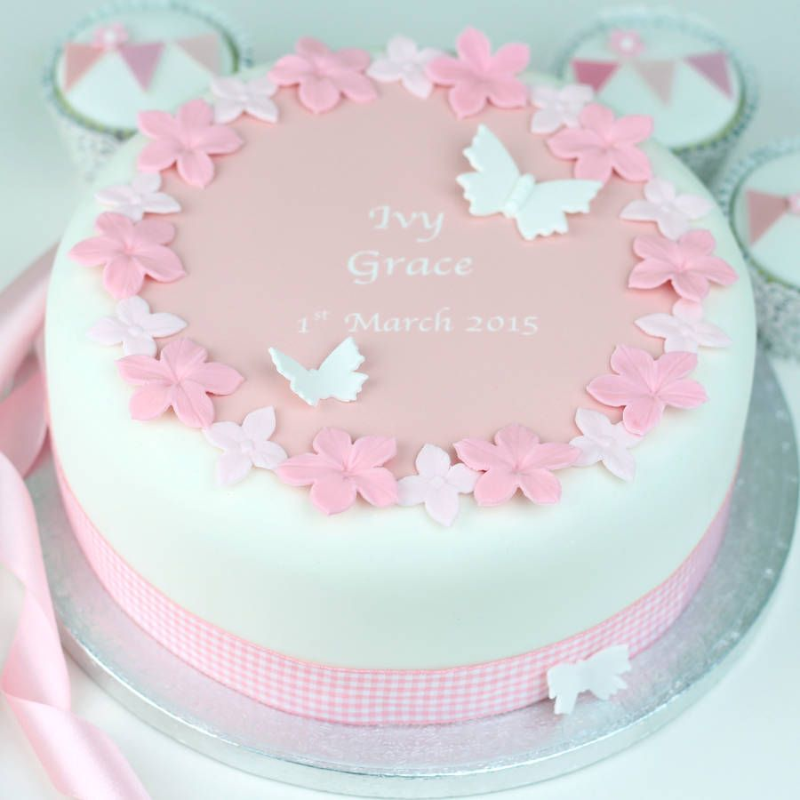 Personalised girls christening cake decoration kit for Baby cake decoration
