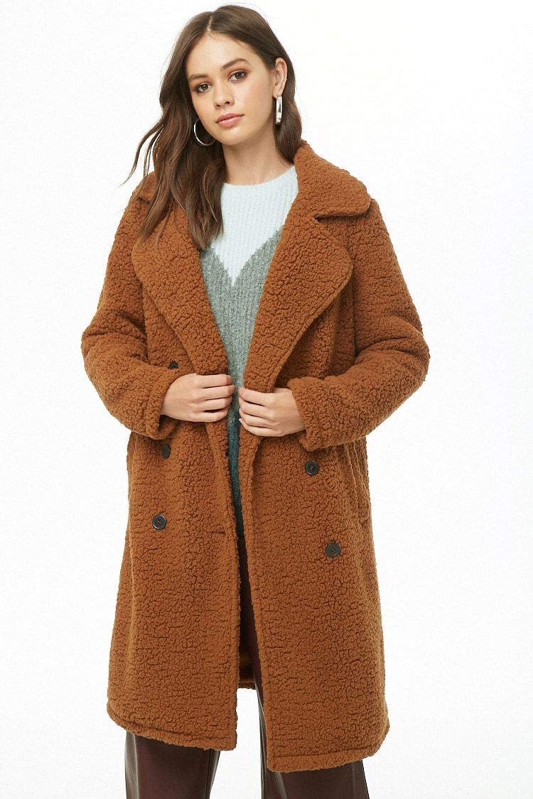 e6412b15b Faux Shearling Double-Breasted Coat   Forever 21   Cold Weather ...