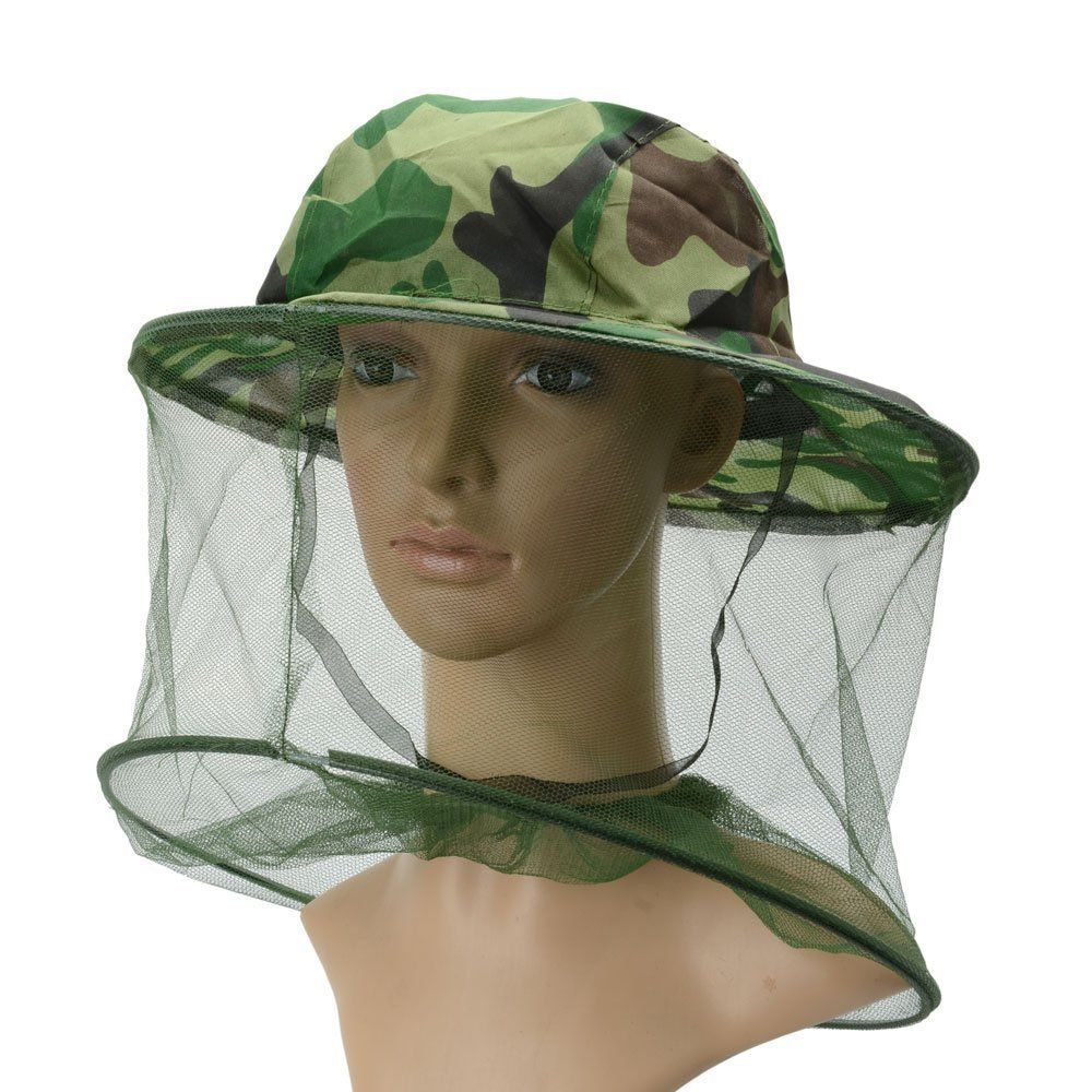 bd7574efbff6d HugeStore Camouflage Mosquito Hat with Head Net Mesh Fishing Beekeeping Hat  Mesh Net Hood Anti Mosquito Green. Net is woven from super imported ...
