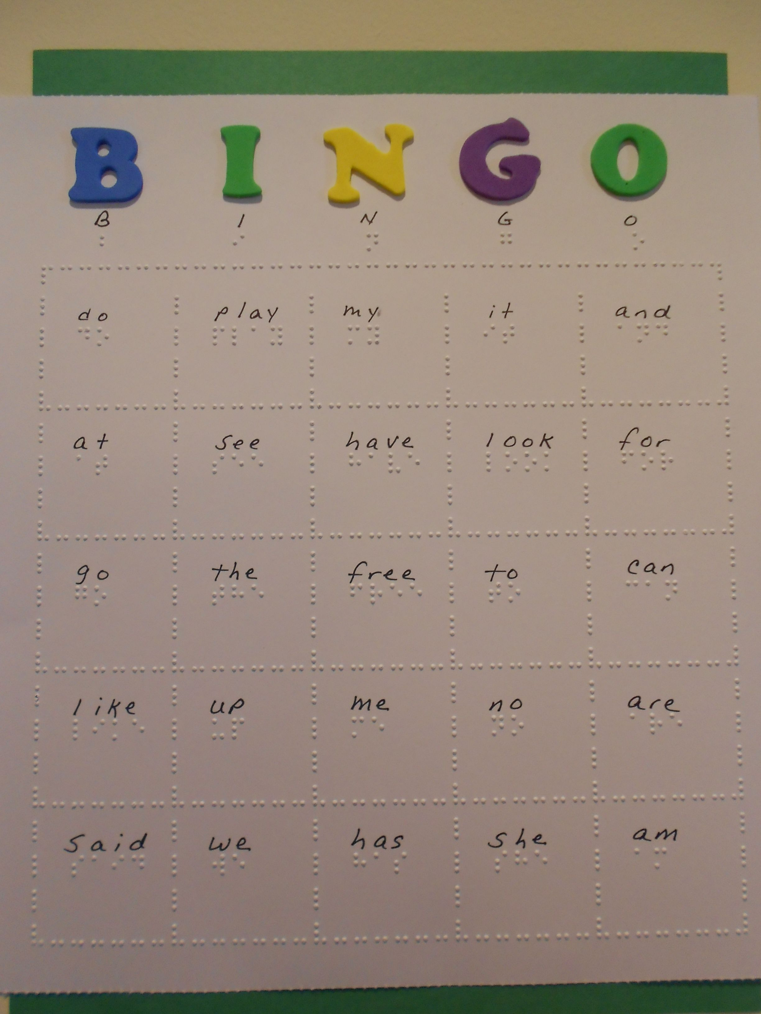 Braille Bingo Cards Twin Vision Print Braille Practice Kindergarten Sight Words In Eith