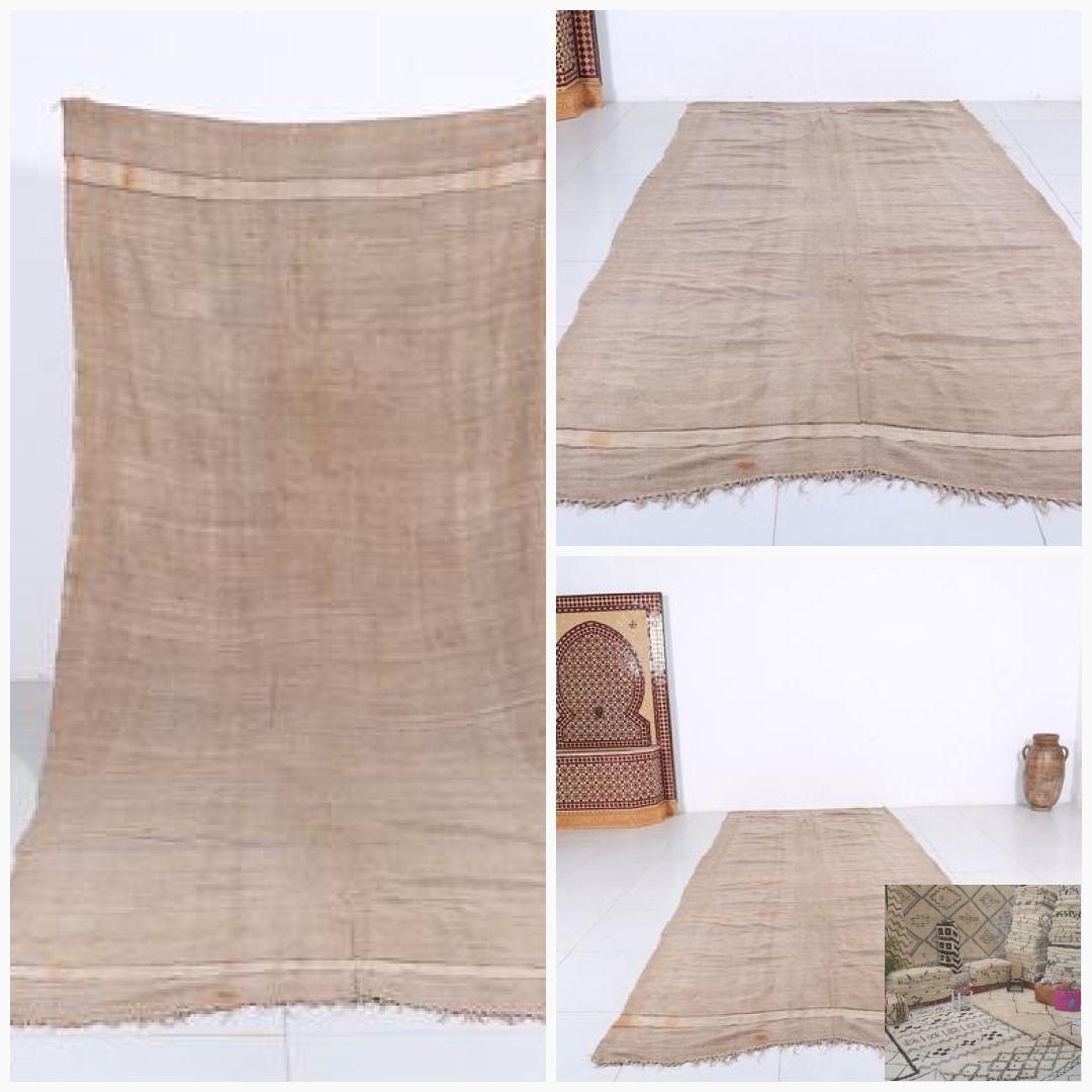 Vintage Beige Blanket 4 6ft X 10 8ft Flat Handwoven Wool Beige