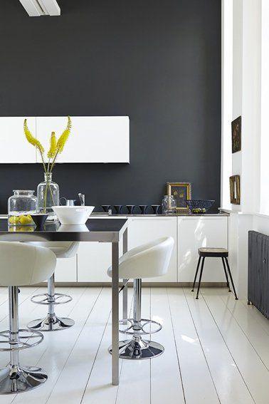 Great Cuisine Design Avec Peinture Gris Anthracite Et Meubles Blanc