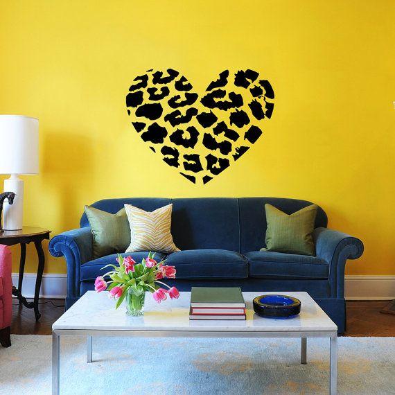 Heart Wall Decal Cheetah Spot Print Heart Love by SuperVinylDecal ...