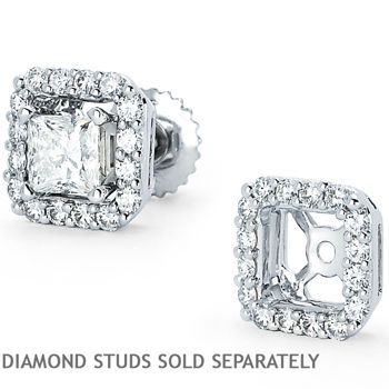 Square Vs2 Clarity I Color Diamond 14kt White Gold Earring Jackets Fit 0 80 Ctw 1 20 Princess Cut Studs