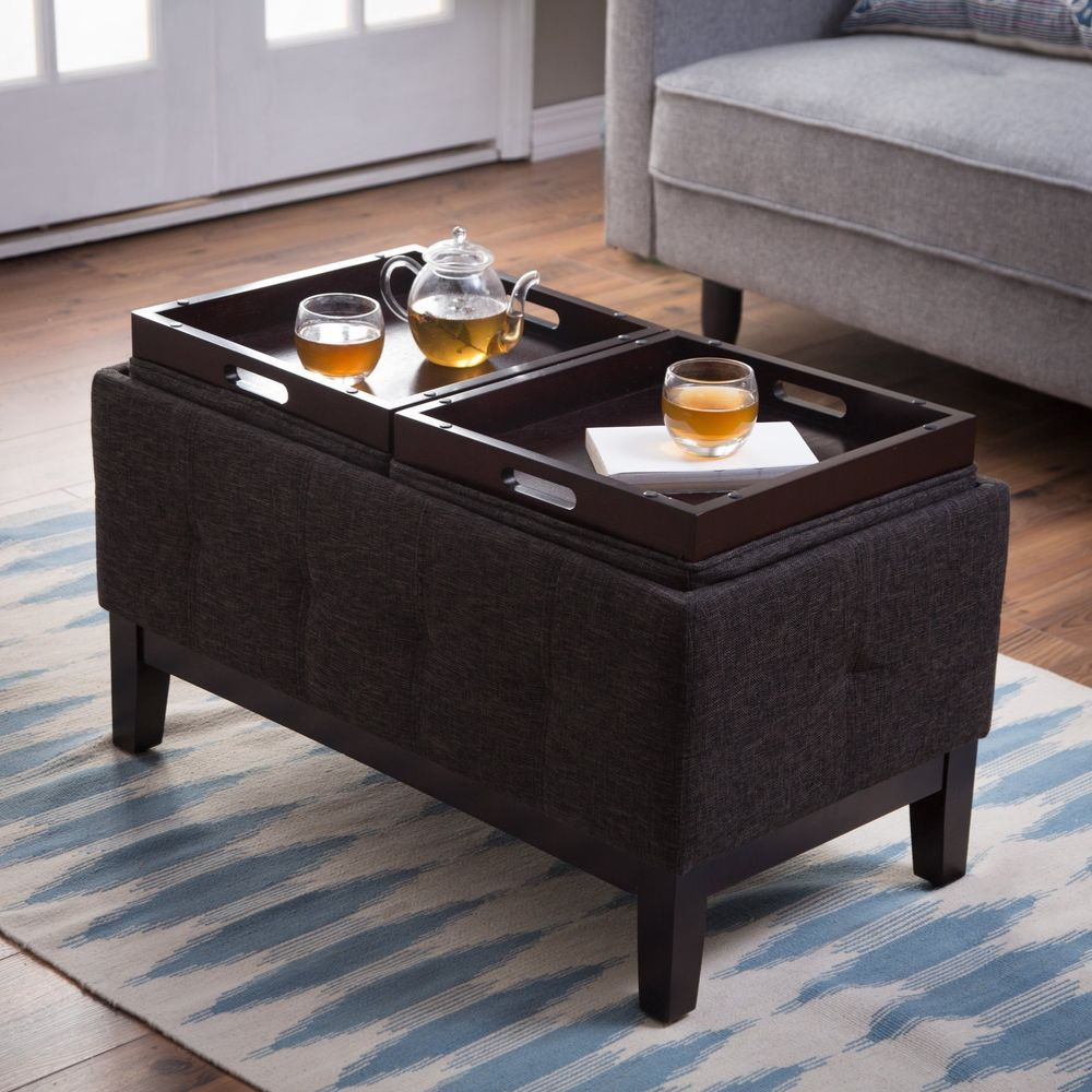Gray Storage Ottoman Bench Coffee Table Fabric 2 Tray Flip Top