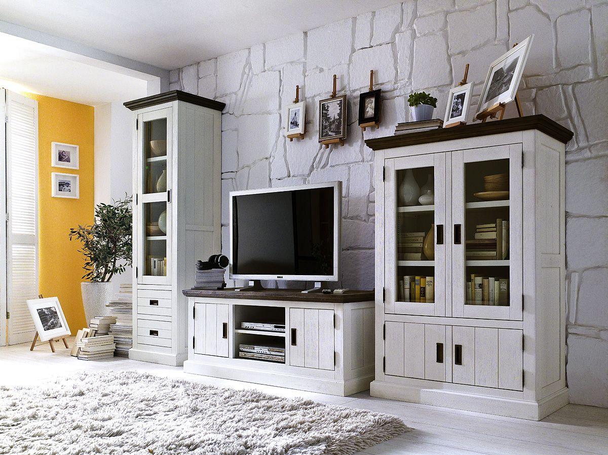 landhaus wohnwand fuerte akazie weiss landhausstil m bel. Black Bedroom Furniture Sets. Home Design Ideas
