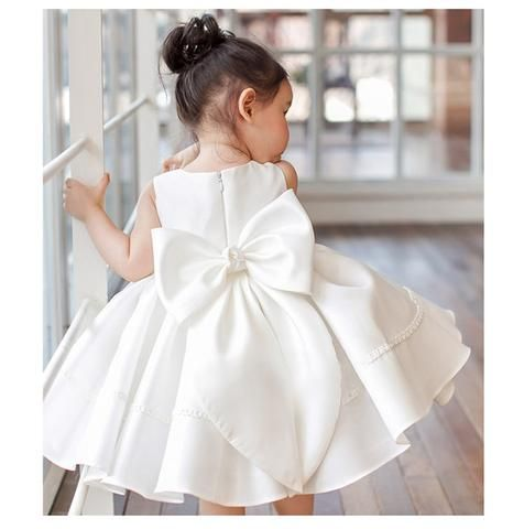 f15a41f67 Girly Shop's White Chic & Elegant Round Neckline Sleeveless Knee Length Big  Bow Back Baby Infant Toddler Little & Big Girl Ruffle Dress
